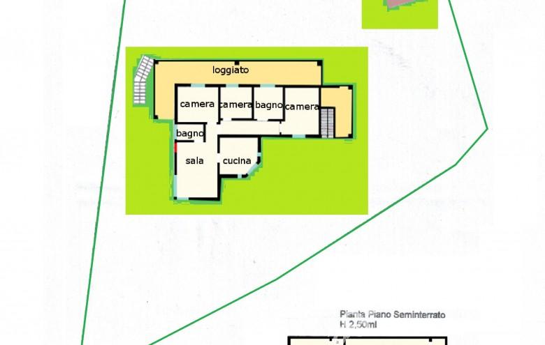 Agenzia Cieffe - planimetria villetta ai piedi delle colline del Candia a Massa